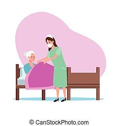 beskytter, sygeplejerske, elderly person, bogstaverne