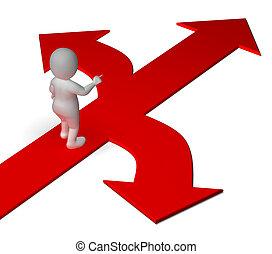 beslissen, of, alternatieven, het tonen, pijl, keuze, opties