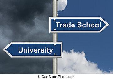 beslissen, school, whether, universiteit, handel, gaan, of