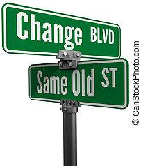 beslissing, kiezen, veranderen, of, zelfde, oud, straat