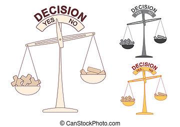 beslissing, schub, plus, minus