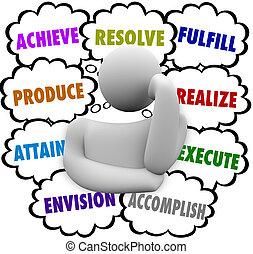 beslut, skyn, envision, tanke, tänkare, utföra, uppnå