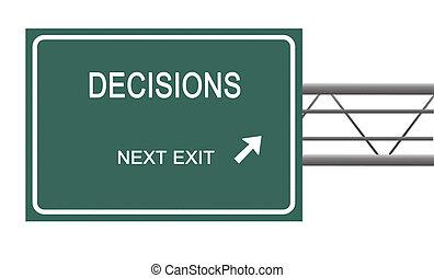 Beslut, väg, underteckna