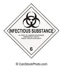 besmettelijk, substantie, waarschuwingsetiket