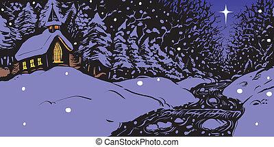 besneeuwd, avond, winter, kerk