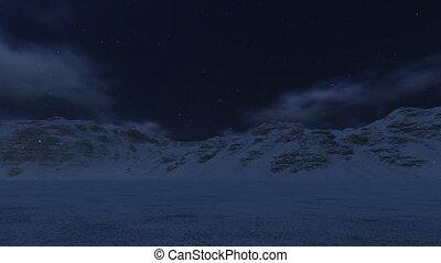 besneeuwd, bergen, en, maan
