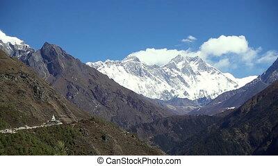 besneeuwd, bergen., nepal, himalayas