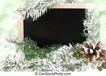 besneeuwd, bord, boompje, bokeh, achtergrond, kerstmis, lege