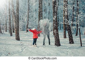 besneeuwd, forest., toneelstuk, kinderen