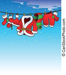 besneeuwd, hemel, kostuum, kerstmis