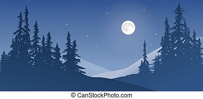 besneeuwd, landscape, maan