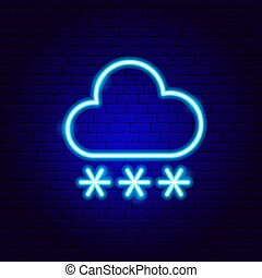 besneeuwd, meldingsbord, snowflakes, wolk, neon