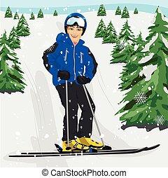 besneeuwd, ski, jonge, helling, skier, bomen, man staand