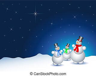 besneeuwd, snowmen, nacht