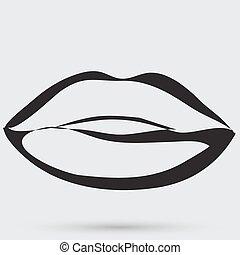 beso, labios, lápiz labial, icono, pasión, símbolo, gente