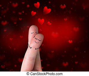 beso, love's, -, valentine, dedos