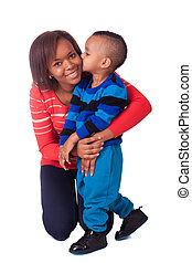 beso, madre y niño