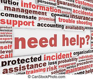 besoin, affiche, slogan, conception, aide