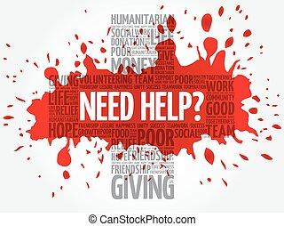 besoin, help?, collage, mot, nuage