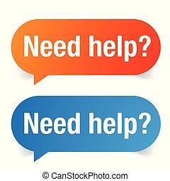 besoin, signe, aide, étiquette