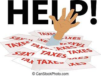 besoins, aide, impôts, enterré