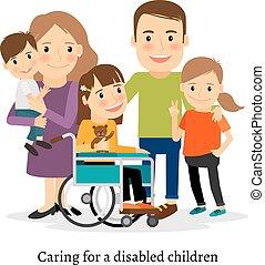 besoins, famille, spécial, enfants