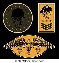 besondere, einheit, militaer, emblem, satz, vektor, design, schablone