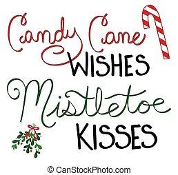 besos, deseos, muérdago, bastón, dulce