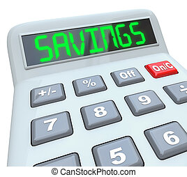 besparelserne, -, glose, på, regnemaskine, by, finansielle,...