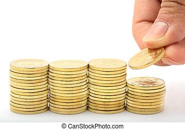 besparing, a, buntar, av, pengar