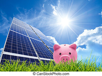 besparing, begrepp, med, photovoltaic