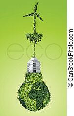 besparing, bol, energie, licht