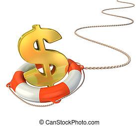 besparing, concept, dollar, 3d