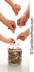 besparing, concept, met, handen, van, anders, generaties