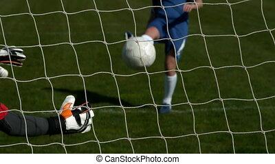 besparing, doel, rood, goalkeeper