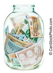 besparing, euro, pengar, in, glasburk