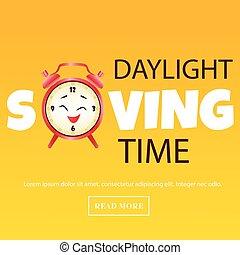 besparing, klok, waarschuwing, daglicht, tijd, spandoek