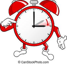 besparing, klok, waarschuwing, daglicht, tijd, veranderen