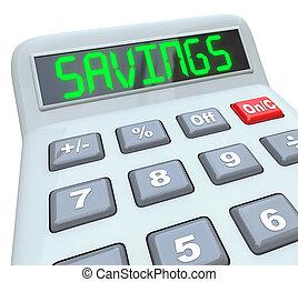 besparingar, -, ord, på, räknemaskin, för, finansiell,...