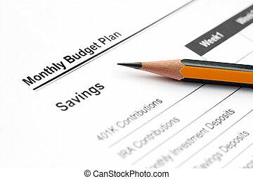 besparingar planerar