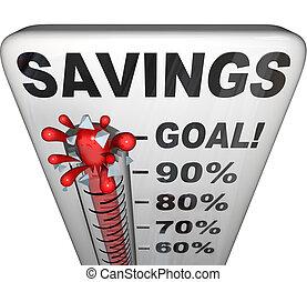 besparingar, termometer, mätning, pengar, nestegg, ökning