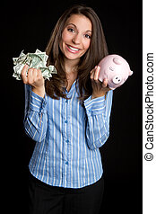 besparingpengar, kvinna