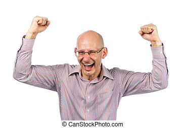Bespectacled man rejoices victory