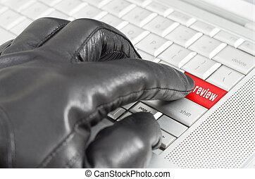 besprechungen, fälschung, begriff, online