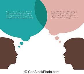 besprekingen, vrouw, man