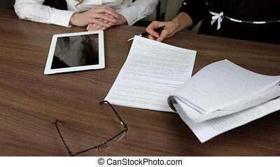 besprekingen, vrouw, work., zakelijk
