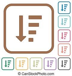 beställ, ikonen, enkel, lista, stiga ned, sätt