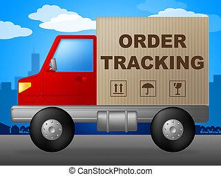 beställa, spårande, visar, logistisk, spåra, och, skeppning