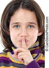 beställning, flicka, förtjusande, tystnad