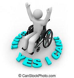 bestämd, rullstol, person, -, ja, jag, kan